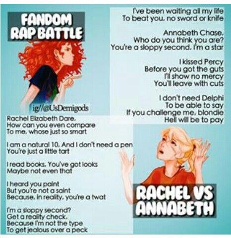 Fandom Rap Battle: Rachael vs Annabeth. Who won? <<<<< Annabeth won. Also Annabeth kissed Percy first