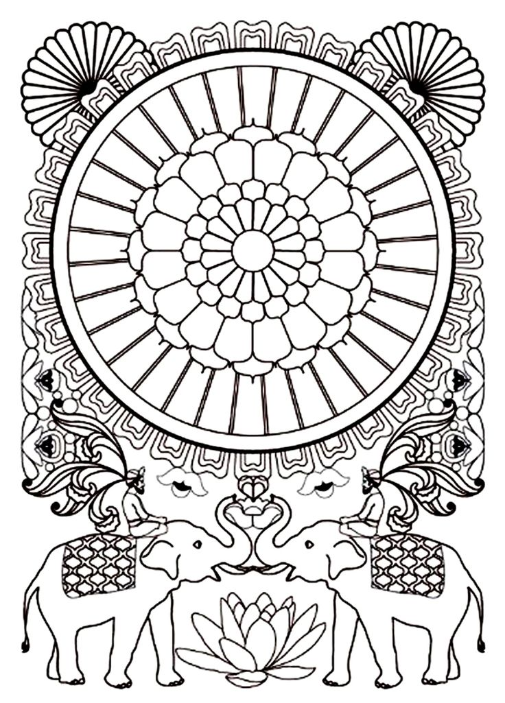 To print this free coloring page «coloring-adult-india-elephants», click on the printer icon at the right