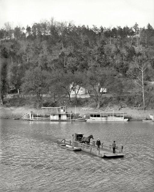 "Circa 1907. ""Primitive ferry, High Bridge, Kentucky River."" 8x10 inch dry plate glass negative, Detroit Publishing Company."