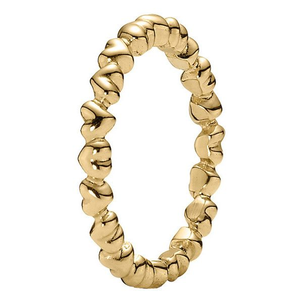 Pandora 14K Gold Heart Stack Ring $160 ❤ liked on Polyvore