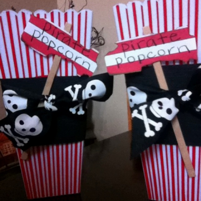 "I found these plastic popcorn containers at Walmart for 50 cents each, and added some ""pirate bling"" to make Pirate Popcorn containers!"