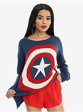 Superhero = Super Style // Her Universe Marvel Captain America Shield Girls Sweater