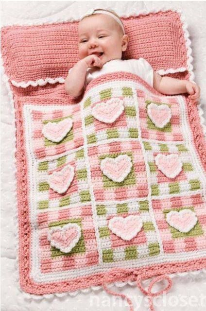 Adorable baby sleeping bag - crochet, hearts