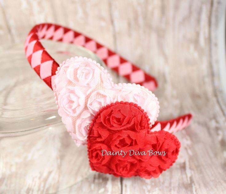 Valentine's Headband, Valentines Day, Red Headband, Pink Headband, Heart Headband, Heart Hair Clip, Valentine's Day, Red and Pink by DaintyDivaBows on Etsy