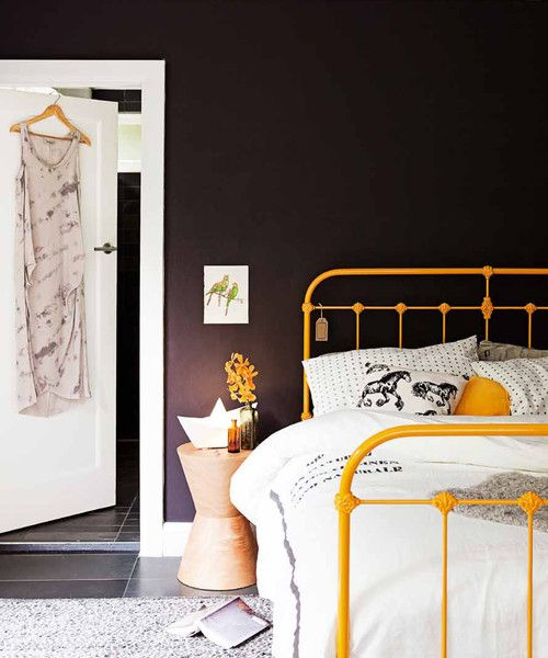 Scout House - Iron Bed, Wrought Iron Bed. Love the iron bed painted a color other than white - idea for when I redecorate......