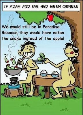 Funny Chinese Adam and Eve Garden of Eden Joke Cartoon Picture - We would still be in Paradise, because they would have eaten the snake instead of the apple: