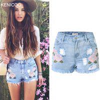 Нравится, Джинса__Новинка 2016 женские джинсы летом высокая талия стрейч джинсовые шорты вышивка отверстие кисточкой женщины джинсовые шорты Большой размер NZ0018