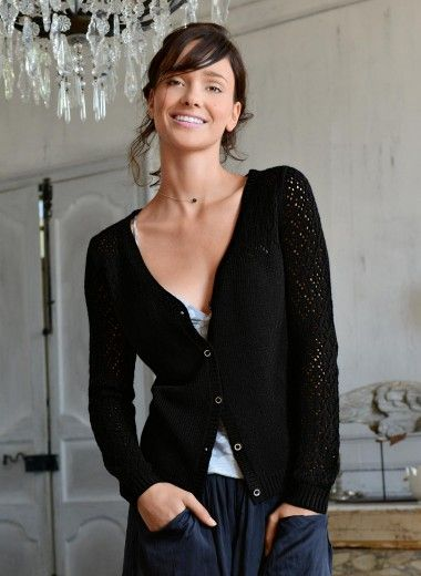 Pretty V-neck cardigan with lace sleeves -- knit in another dark neutral, perhaps burgundy or grey.