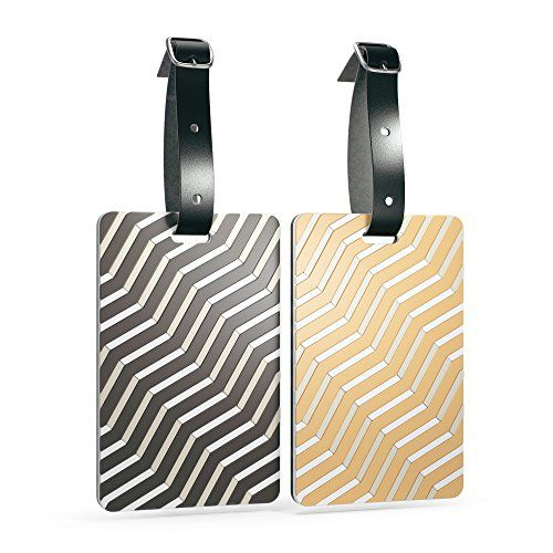 Shacke Luggage Tags with Genuine Leather Strap - Set of 2 (Zebra/Gold Lines)