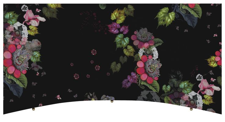 Desktop artfully covered in the designer's signature floral with curved drawer…