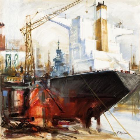 Paris Prekas (Greek, 1926-1999) Tanker 97 x 97 cm.
