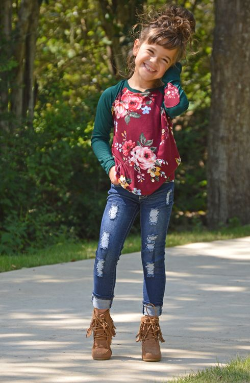 Burgundy/Green Floral Top, Ryleigh Rue Clothing, Little Girls Clothing, Online Shopping, Online Boutique, Boutique, Fashion, Style, Top, Floral Top, Elbow Patches