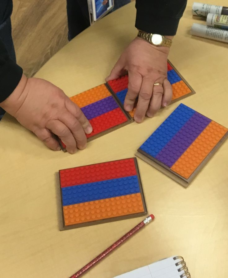 Apply block tape (from Amazon) to laminate flooring samples (cost ~25 cents) to make bases for Lego group work in the classroom. Students can build houses separately and then snap the bases together to create a town or city.