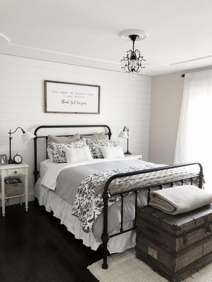 Modern Farmhouse Bedroom Decor Shiplap Accent Wall Black