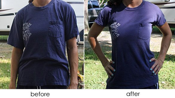 Good idea to make your t-shirts more feminine. I've been wanting to try this but I thought I had to take it all apart. Not so!