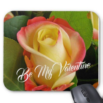 Romantic Valentines Yellow & Pink Rose Mouse Pad | Zazzle.com