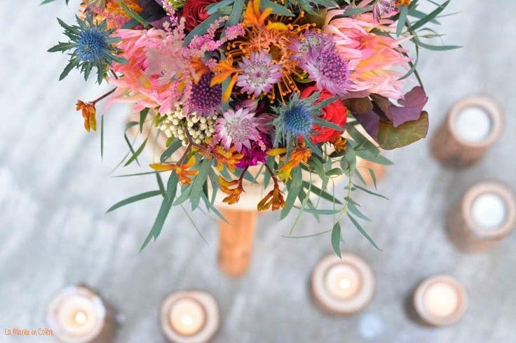 Un très jolie bouquet de mariée pour un mariage automnal à découvrir sur le blog #bouquet  #mariage #bohemian #fleurs #wedding