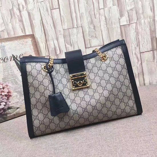 25570c951205 Padlock GG Supreme Canvas Shoulder Bag Black 479197 | Gucci Shoulder ...