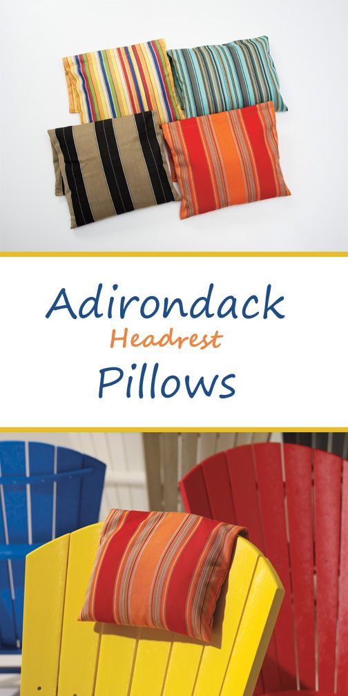 Make your favourite Adirondack chair even better with a headrest pillow. These designs are created using Sunbrella fabrics in classic patterns.