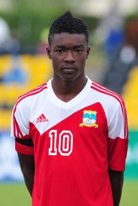 Aldo Dufrene of Seychelles during the Cosafa u20 Youth Championship Group C game between Seychelles and Zambia at Mafeteng Stadium, Maseru in Lesotho on 9 December 2013 ©Ryan Wilkisky/BackpagePix