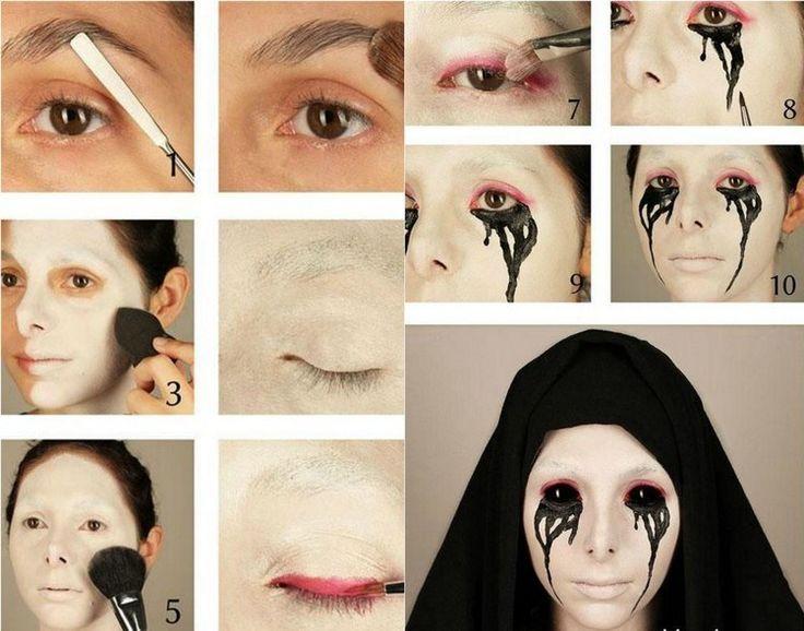 Halloween Schminke - weißes Gesicht und schwarze Tränen