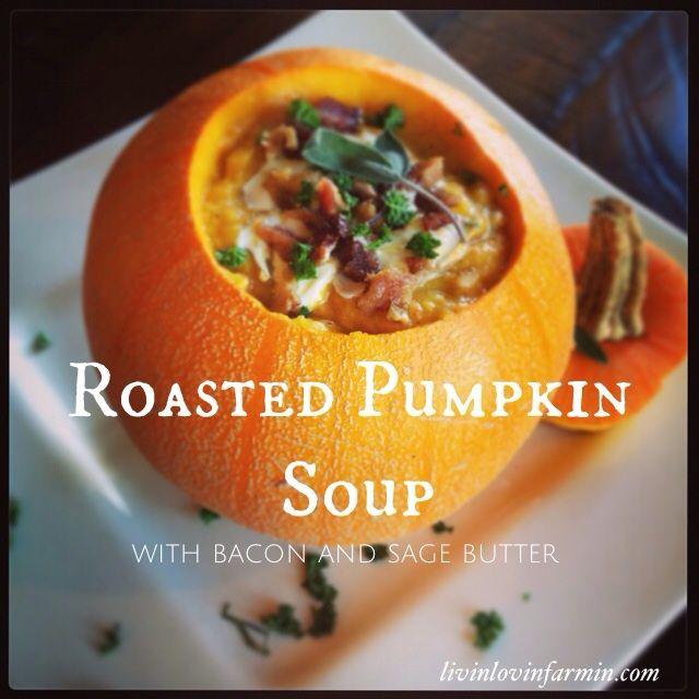 Roasted paleo pumpkin soup with garlic sage butter