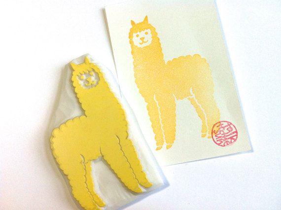 Alpaca hand gesneden rubber stempel. boerderij dieren stempel. verjaardag scrapbooking. vakantie kaart maken. geschenkverpakking. blok afdrukken. grote