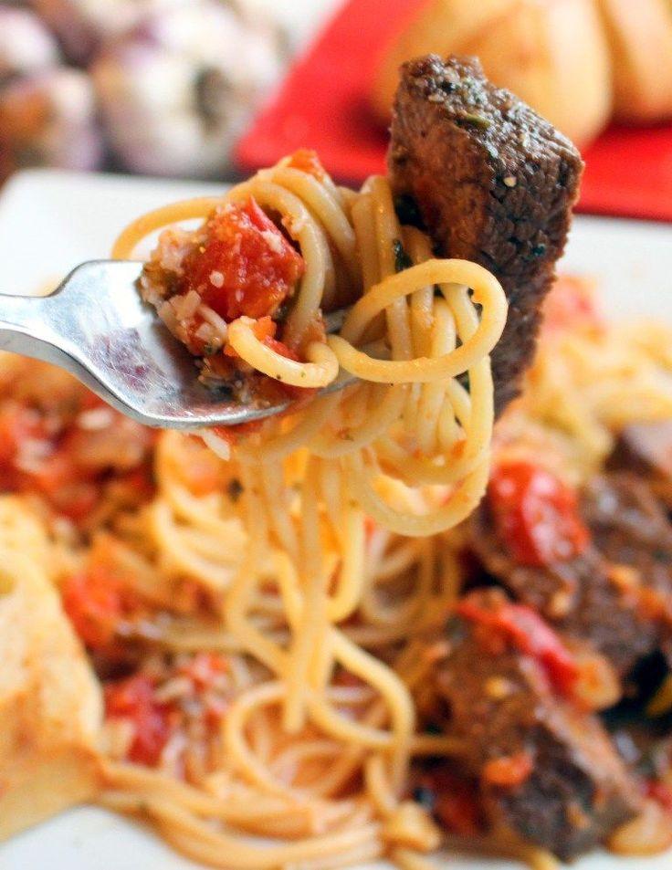 Steak Promodoro. Pan seared tri tip steak alongside a rustic tomato sauce and pasta.