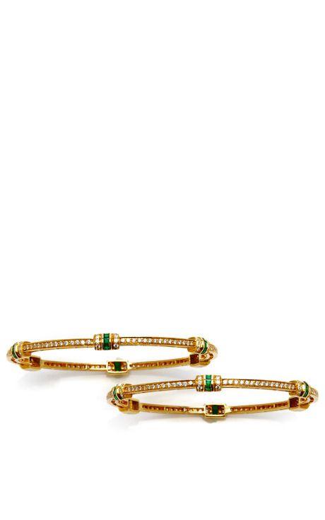 Shop One-Of-A-Kind Emerald & Diamond Bangle Pair by Madhuri Parson for Preorder on Moda Operandi
