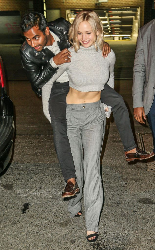 Jennifer Lawrence & Aziz Ansari from The Big Picture: Today's Hot Pics  The actress gives the actor a piggyback ride in New York City.