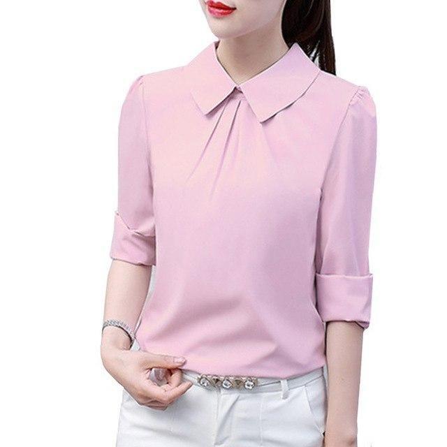 8c0f40ce Summer Style Women Office Work Wear Chiffon Blouses Shirt Lady Girsl Long  Sleeve Turn-down Collar Blusas Shirts DF1170