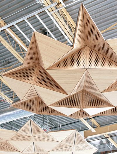 origami architectural acoustic panels - for the group work area, since sound travels so poorly in our open space