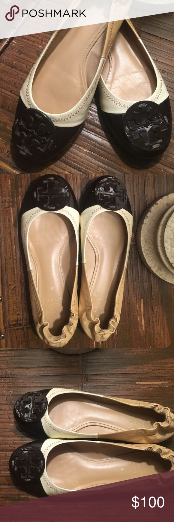 Tory Burch REVA Tri color signature Flats SZ 6 Tory Burch REVA Tri color - Brown, Camel and cream patent leather ballet flats with signature logo on toe. Tory Burch Shoes Flats & Loafers