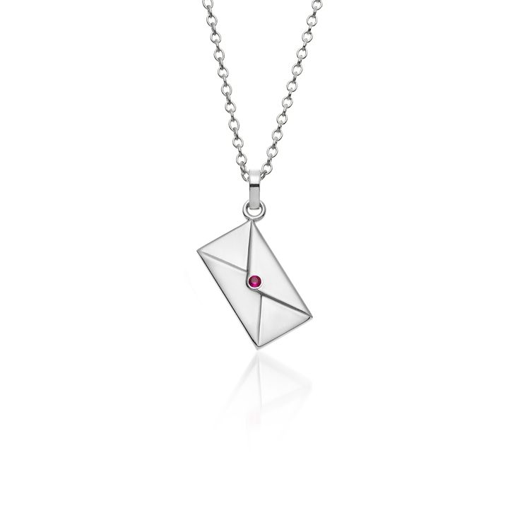 """""""Love Letter"""" silver polished pendant, with a pink sapphire and a silver chain. For engraving in the back of the letter, please add your message, name or word in your order."""