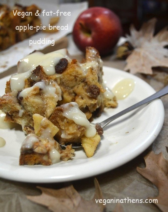 Vegan and fat-free apple-pie bread pudding