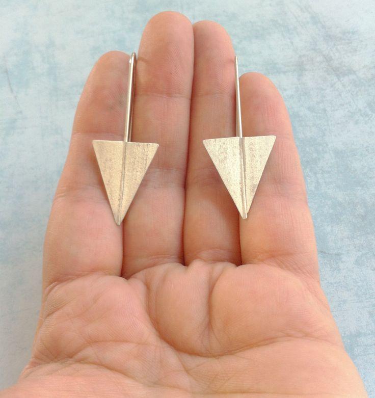 Sterling silver earrings ref.10216G2LG - minimalist geometric earrings -contemporary jewelry-hoop earrings -pending earrings-arrow earrings - pinned by pin4etsy.com