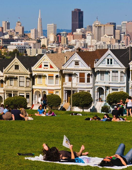 San Francisco's famous Painted Ladies, as seen from Alamo Square.   (Home of the Part-Time Traveler Headquarters!)