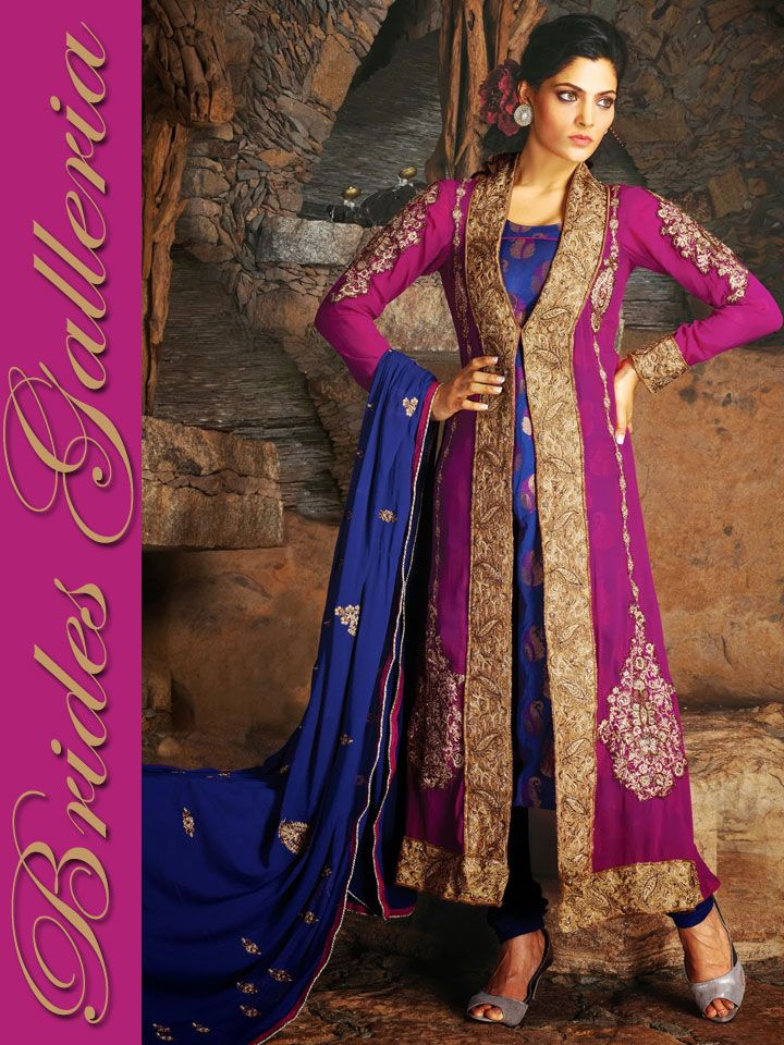 Magenta pure georgette churidar kameez designer sarees for Punjabi wedding dresses online