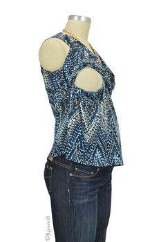 Mel Sleeveless Twisty Nursing Top in Blue Zigzag by JWSF with free shipping $52