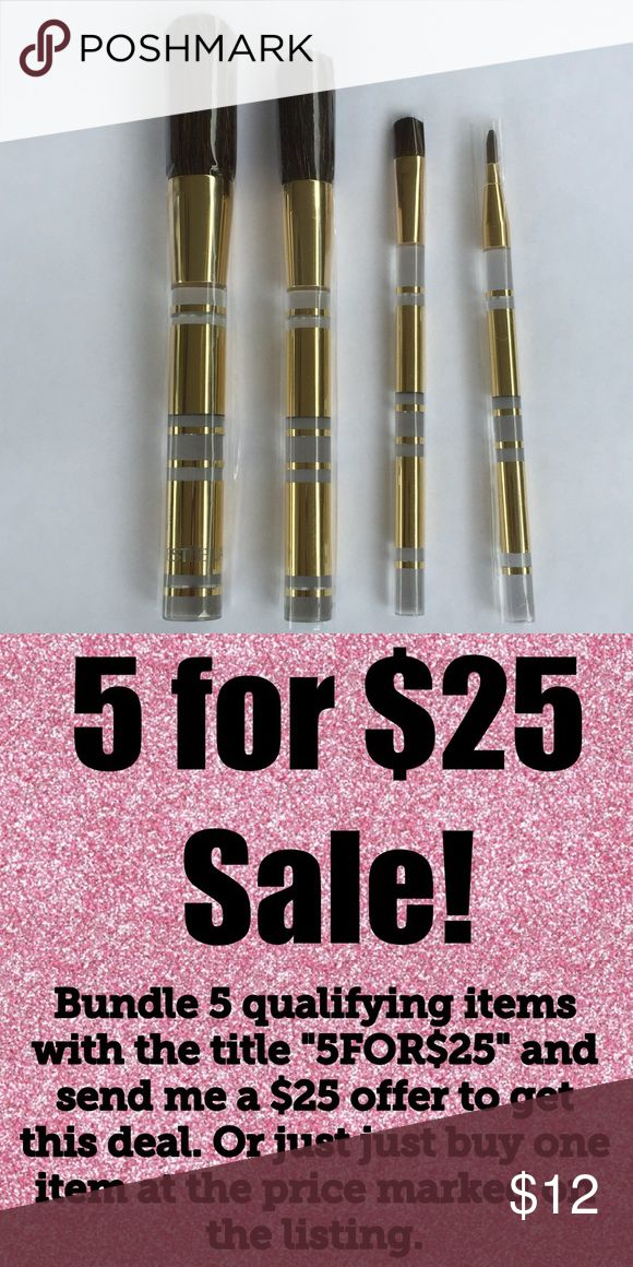 "🎉5/$25🎉 Estée Lauder Makeup Brush Set Estée Lauder Makeup Brush 4 Piece Set Foundation, blush, eyeshadow & lipstick brushes.  5.5""-6.5""  See my other listings with 5 for $25 SALE and save on a bundle! Lots of clothes, bags, jewelry and new boutique items. Great for gift giving. I love accepting offers. Estee Lauder Makeup Brushes & Tools"