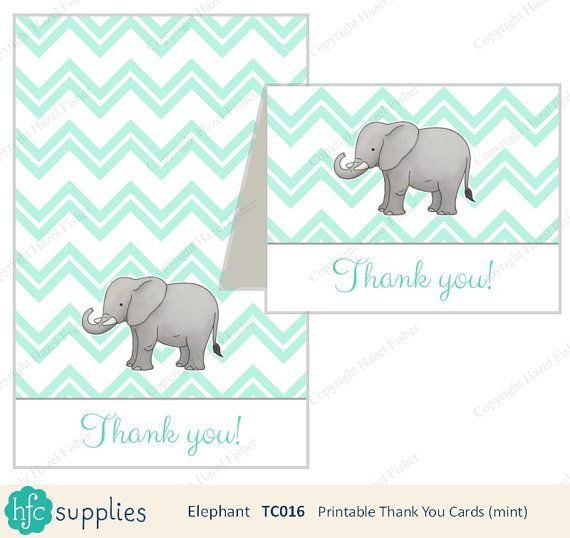 Elephant Thank You Cards printable tent card - mint by hfcSupplies on Etsy. Pastel mint, baby shower thank you card. New baby.