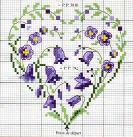 cross stitch chart heart with little purple flowers