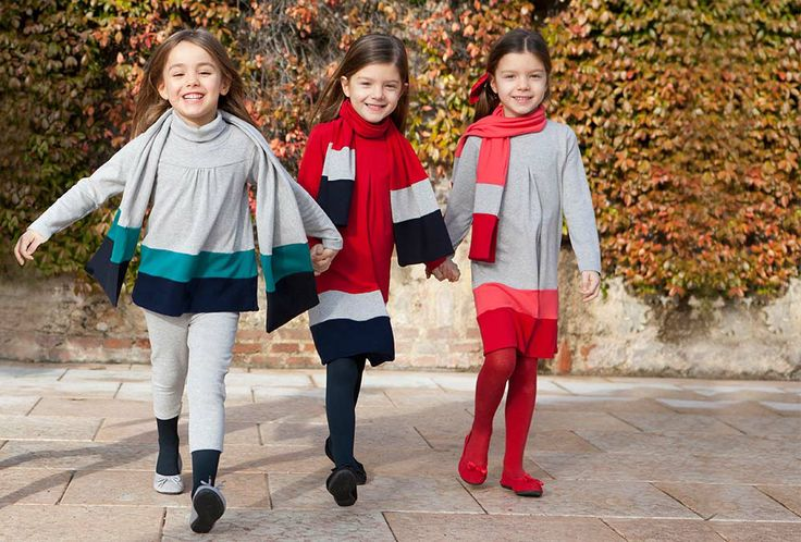 Striped navy blu and red interlock dresses