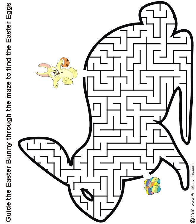 Bunny shaped maze from PrintActivities.com