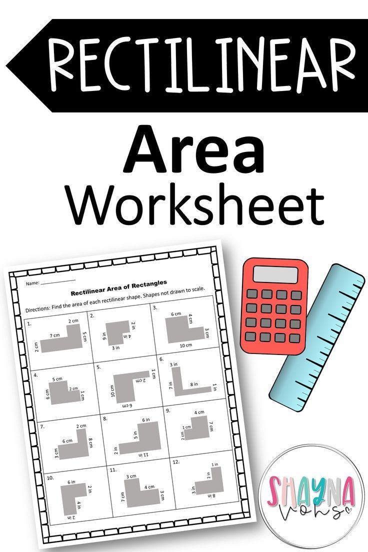 Rectilinear Area Worksheet   Area worksheets [ 1104 x 736 Pixel ]
