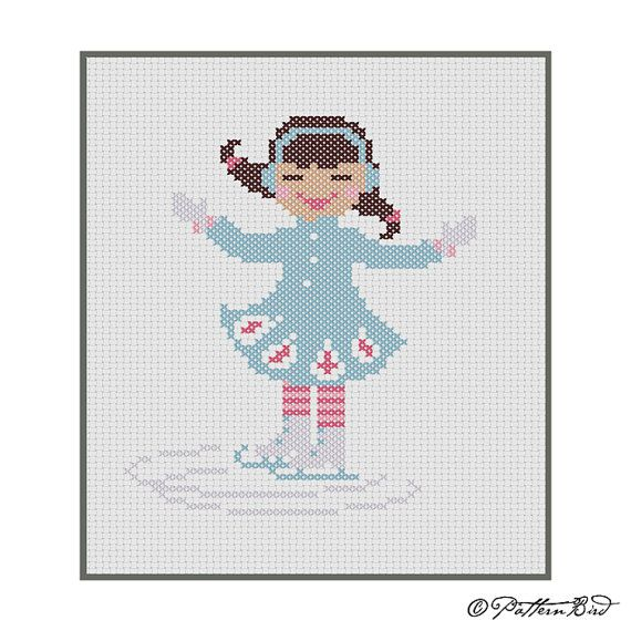 A Little Girl Ice Skating II. Instant Download PDF Cross Stitch Pattern - what a fun winter design by PatternBird