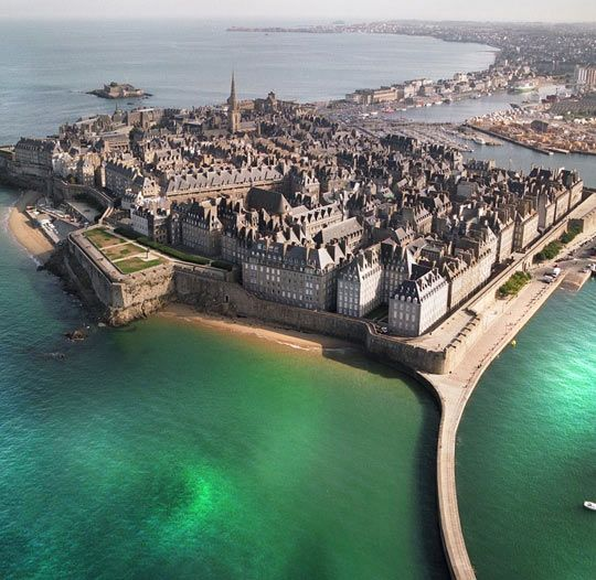 Beautiful St. Malo In France. Aerial of the walled city. Wonderful to walk all over.