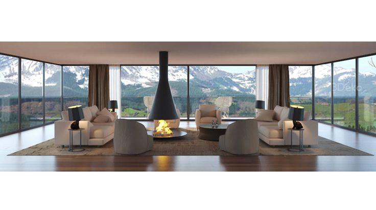 Busca imágenes de diseños de Salas estilo moderno}: Sala de estar en la montaña. Encuentra las mejores fotos para inspirarte y y crear el hogar de tus sueños.