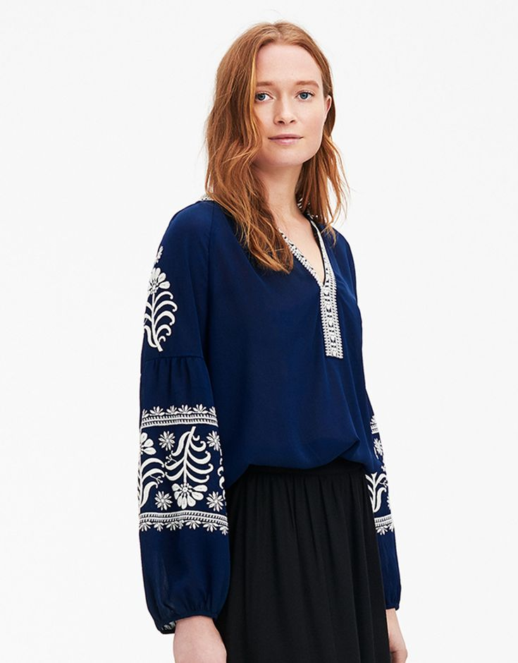 LIA BLOUSE blus blå | Embroidery | Blouse | Blusar | Mode | Indiska.com