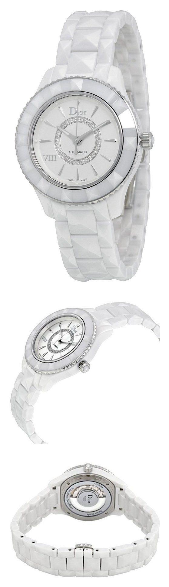 Christian Dior VIII White Diamond-set Dial White Ceramic Ladies Watch CD1235E3C001 #watch #christiandior #wrist_watches #watches #women #departments #shops